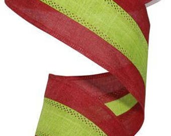 2.5 x 10 yards- LIme and Red stripe, Red and LIme Stripe, lime and red ribbon, LIme and red ribbons, christmas ribbon, Christmas Ribbons
