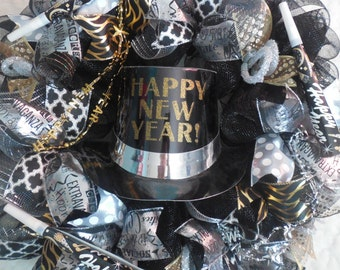 New year's eve decor, new years eve decorations, new years wreath, NewYears, NewYear Wreath, newyears wreaths ,Happy new year