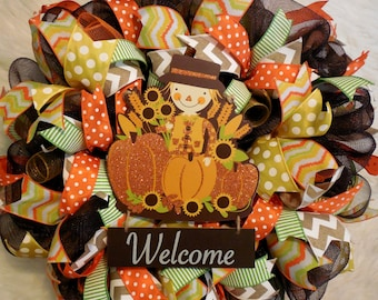 Fall Welcome Wreath, Fall Wreath, Fall Wreaths, Scarecrow Wreath, Harvest Wreath,Thanksgiving Wreath, Happy Thanksgiving