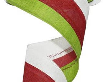 2.5 x 10 yards- LIme White and Red stripe, Red and LIme Stripe, lime and red ribbon, LIme and red ribbons, christmas ribbon, Christmas