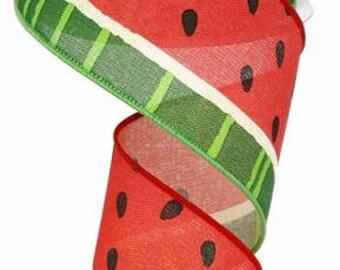 "2.5""x 10 yards- Watermelon Ribbon, Watermelon slices ribbon, watermelon ribbons, watermelon slices, wired watermelon ribbon, ribbons"