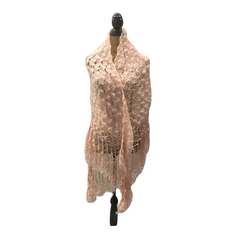 Hand Made Knit Pink Triangle Shawl With Fringe Accent Very Soft