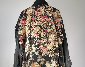 6793c7754 DO NOT BUY On Hold for Sandra Antique 1920's Cherry Blossom Roses Birds  Heavily Embroidered Silk Japanese Kimono Robe