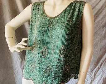 20s Art Deco Mint Green Silk Chiffon & Silver Glass Bugle Beaded Flapper Top w/ Silk Crepe Lining Pristine S or M