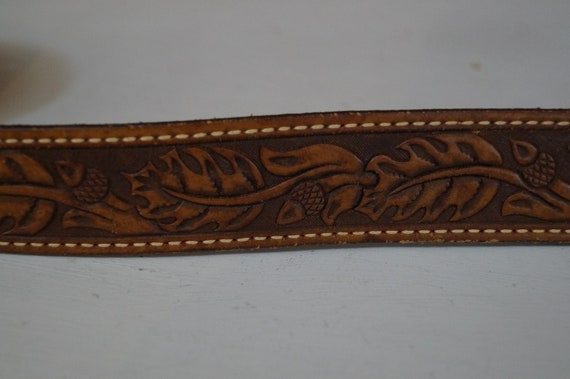 leather belt, vintage belt, flower belt, cowboy b… - image 7