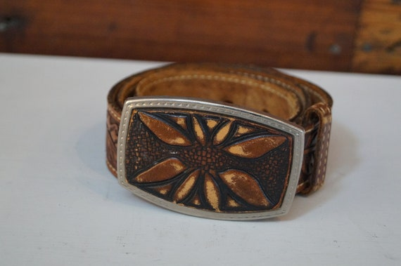 leather belt, vintage belt, flower belt, cowboy b… - image 1