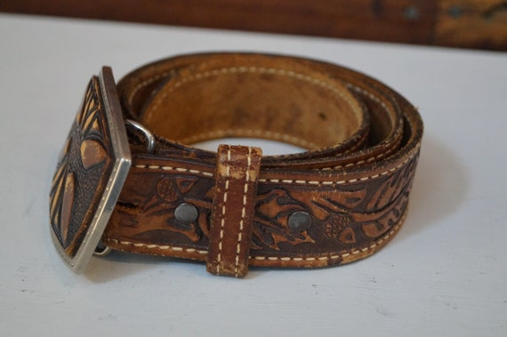 leather belt, vintage belt, flower belt, cowboy b… - image 2