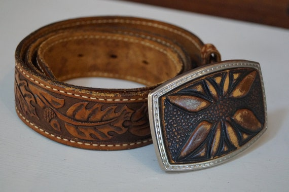 leather belt, vintage belt, flower belt, cowboy b… - image 5