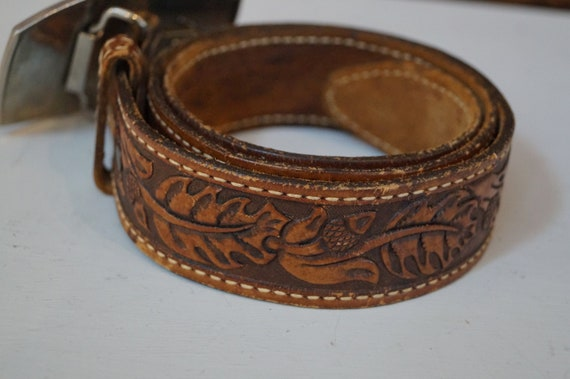 leather belt, vintage belt, flower belt, cowboy b… - image 3