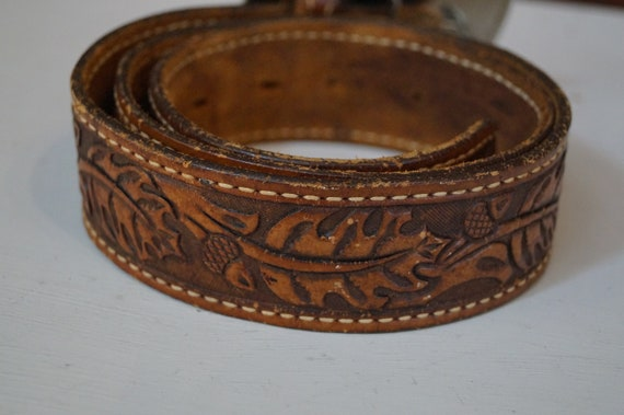leather belt, vintage belt, flower belt, cowboy b… - image 4