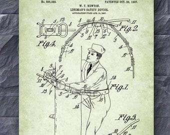 Power Company Wall Decor Retro Lineworker Poster 1914 Lineman/'s Safety Belt Patent Print Lineman Gift Idea Utility Company Decor