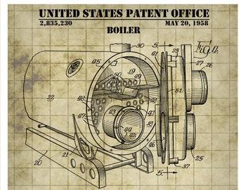 boiler patent print, boiler poster art, boiler design, boiler blueprint,  engineering decor, industrial art, facilities engineer gift p469