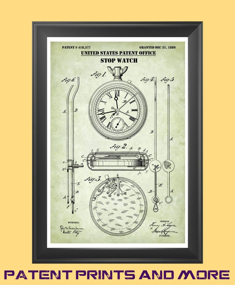 Stopwatch Patent Print, Stopwatch Poster, Pocket Watch, Timepiece,  Watchmaker Gift, Horology, Horologist Decor, Time Piece, Sports Art P553