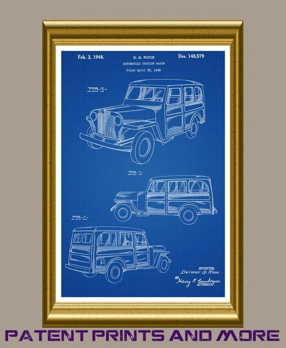 Vintage US Jeep Willys Poster Print