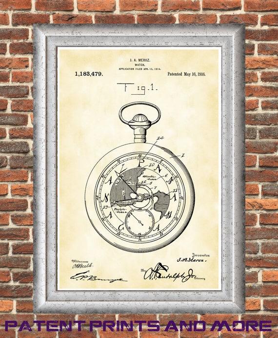 Pocket watch patent print horology poster vintage pocket etsy image 0 gumiabroncs Images