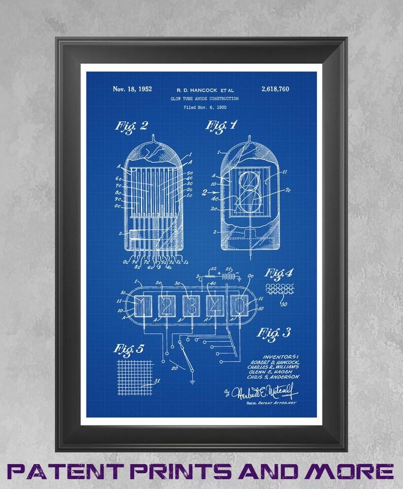 Nixie Tube Patent Print, Nixie Tube Art, Glow Tube Poster, Vacuum Tube, NIX  I, Steampunk Decor, Nerd Art, Tinkerer Gift Nixie Clock Art P401
