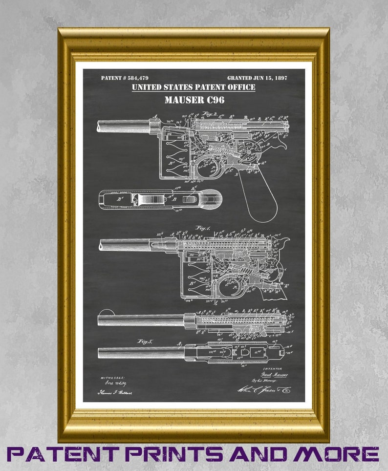 Unframed Military Army Gun Poster Wall Art Decor Gift Glock Patent Print