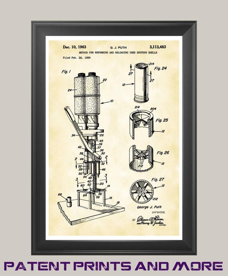 Excellent Reloader Shotgun Shell Reloading Machine Poster Patent Etsy Wiring 101 Tzicihahutechinfo