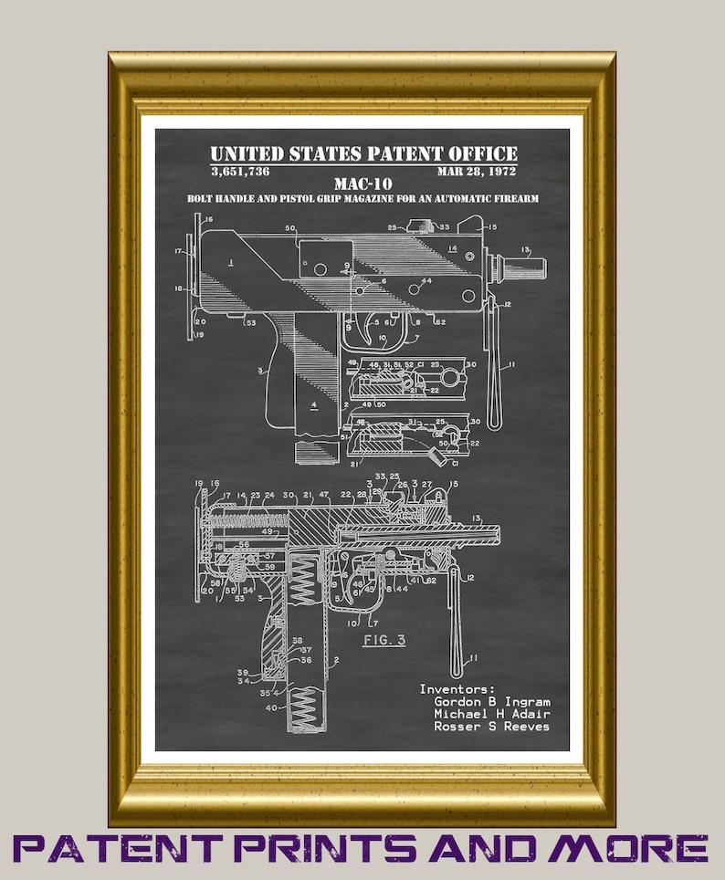 MAC-10 Patent Print, Uzi Poster, Machine Gun Art, Gun Decor, Firearm Wall  Art, Gun Collector Gift, Gun Room, M-10 Automatic Pistol P413