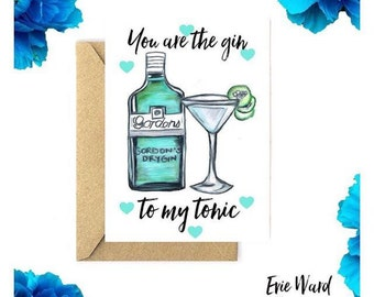You are the gin to my tonic A5 Valentines Day card