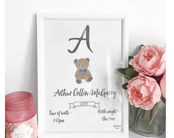 Baby girl or boy baby personalised print, the perfect gift for a newborn