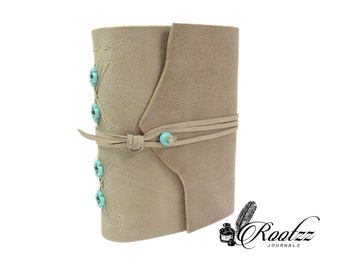 Leather journal beige with Turquoise A5