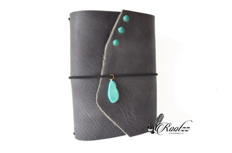 A6 Traveler's notebook grey with a turquoise stone  image 0