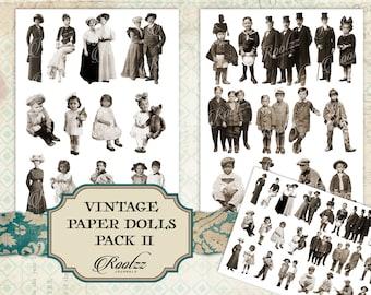 Vintage paper dolls pack 2 - junk journal - ephemera- fussy cuts -printable - digital