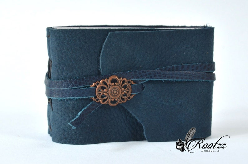 Leather journal pocket size vintage blue journal  diary  image 0