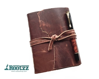 Leather vintage journal -  leahter journal - travelers notebook - journal - leather book