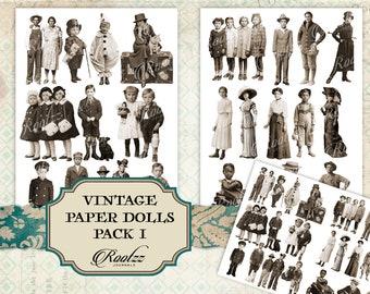 Vintage paper dolls pack 1 - junk journal - ephemera- fussy cuts -printable - digital