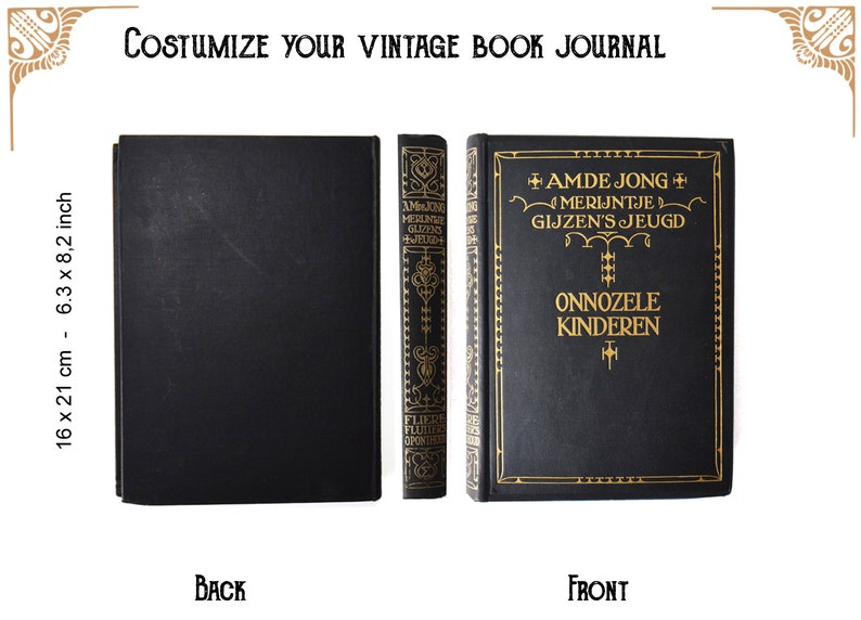 Custom journal of a vintage book Black gold   notebook  image 0