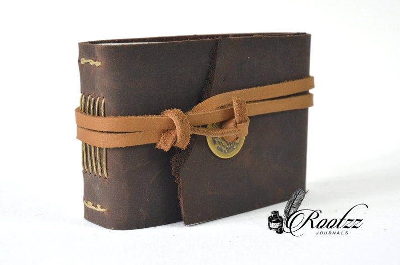 Leather journal pocket size brown with luck coin journal  image 0
