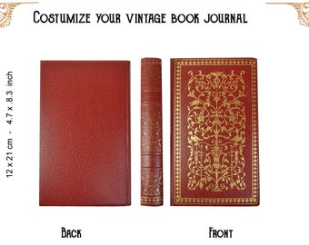 Custom journal of a vintage book Red with gold - notebook - Travelers notebook - junk journal