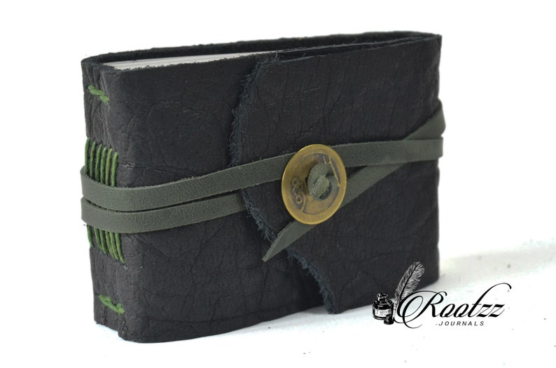 Leather journal pocket size black with luck coin journal  image 0