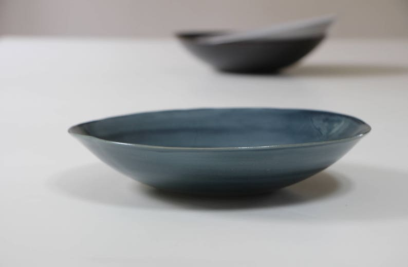 Stoneware Pasta Bowl blue  Stoneware Dishes  Handmade Stoneware Pottery   Ceramic Pasta Plate  Salad Plate Soup Bowl Blue