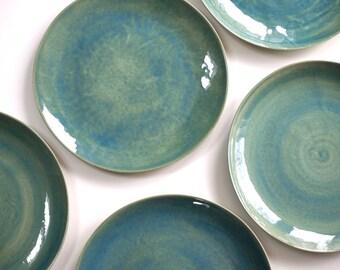 Stoneware Plates Dinner Set glazed in green. Ceramic Plate. Pottery Handmade Stoneware Dinnerware. Ceramic Plate Green Pottery Dishes. & Ceramic plate set   Etsy