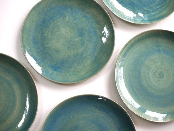 Steinzeug Teller In Grün Keramik Geschirr Handgemacht Etsy