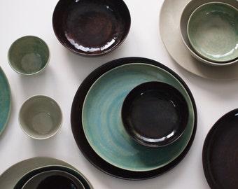 Stoneware Plates Set Handmade Pottery Stoneware Ceramic Plates Ceramic Bowls. Stoneware Dinnerware & Handmade Pottery Dishes Black u0026 White Plate Settings