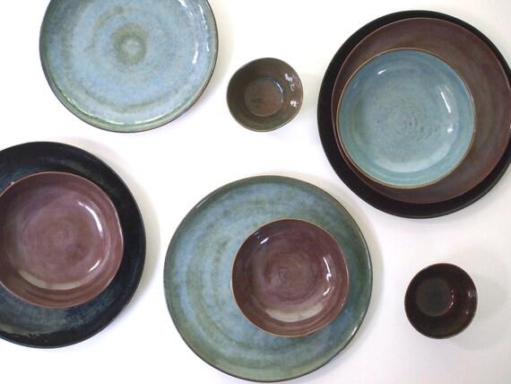 Steinzeug Geschirr Set In Drei Farben Etsy