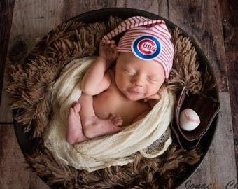 Chicago Cubs Elf!  Cubs inspired Hospital Newborn Beanie, red and white striped stocking cap, Hospital baseball  Hat, Cubs