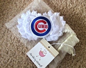 Chicago Cubs Newborn shabby chic rosette Headband, white flowers, free gift wrap, Newborn, shower gift,  Chicago Cubs, infant,