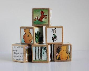 6 handmande RARE Classic Winnie the Pooh Wooden Blocks in COLOR