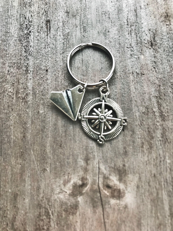 Travel keychain Airplane keychain Paper plane keychain  547175d34
