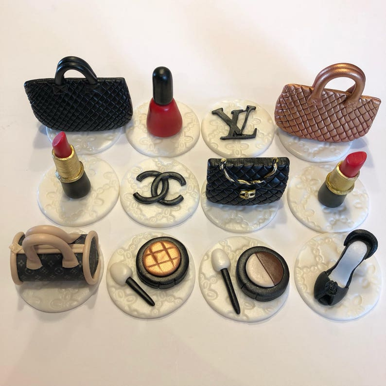 7c901fca14d Designer bags, shoes and makeup cupcake toppers