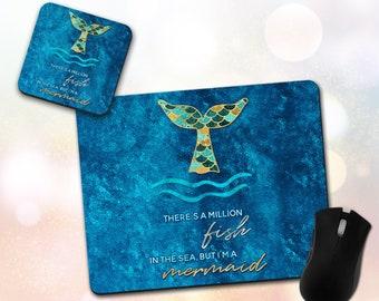 Custom Mouse Pad & Coaster ~ Inspirational Quote, I'm A Mermaid, Mermaid Tail, Scales, Home Decor, Office Decor, Accessory ~ Vivid, Non-Slip