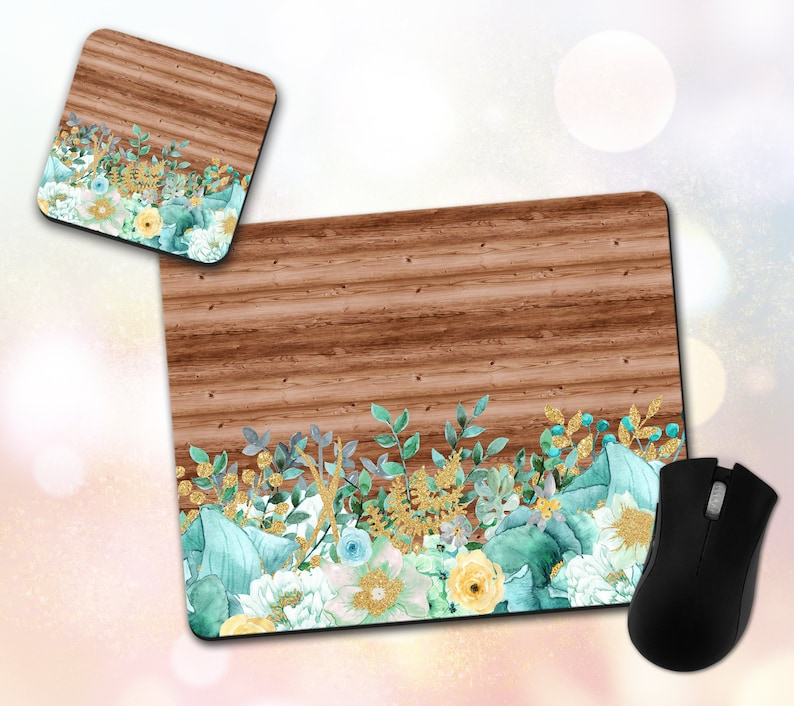Wood Flowers Floral Mouse Pad /& Coaster Set Mint Green Watercolor Office Decor Desk Accessories Desk Decor Mouse Mat