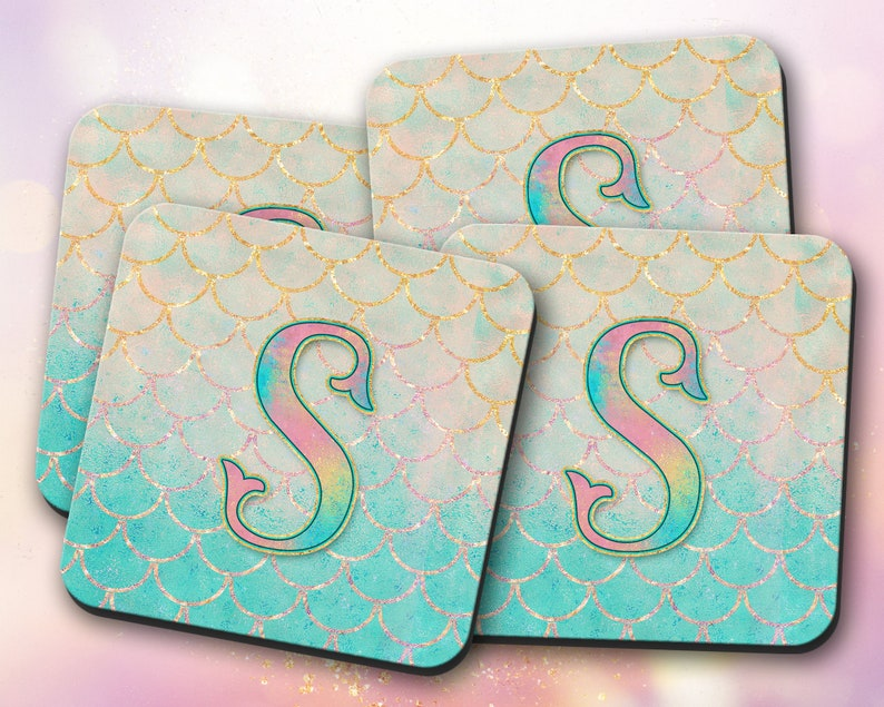 Fishtail Decor ~ Vivid Mermaid Scales Gift Monogram Teal Initial Gold Custom Mouse Pad /& Coaster ~ Personalized Non-Slip