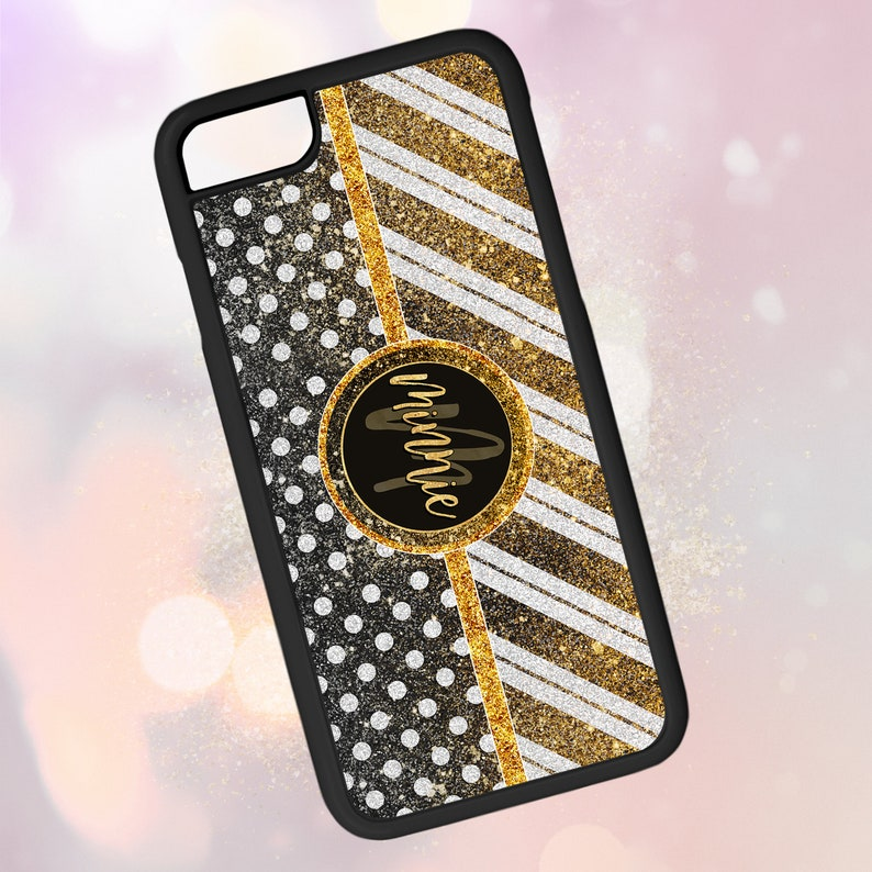 sale retailer 63459 fea35 Custom 2d Rubber Phone Case ~ Personalized Name, Stripes, Polka Dots,  Black, Gold, Glam, Gift ~ Great Thick Protection [iPhone][Galaxy][LG]