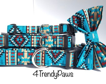 Southwest collar, Southwest Teal Blue, Aztec collar, Western Collar, Boy Dog Collar, Girl Dog Collar, Small Dog Collar Big Dog Collar
